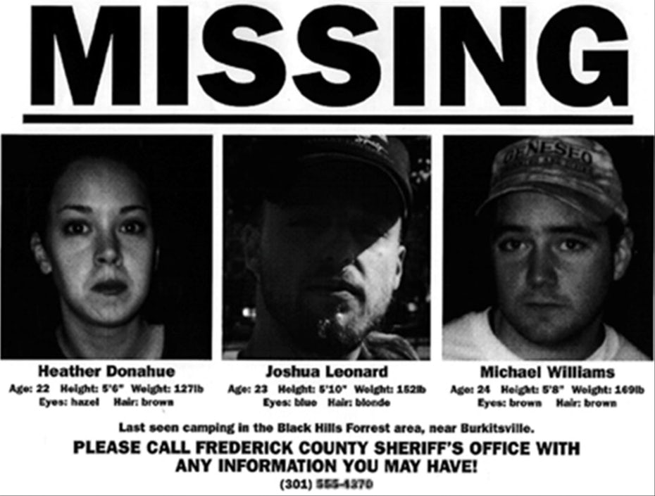 black and white Missing Person poster for the three filmmakers who created The Blair Witch Project
