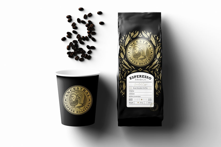 black coffee bean bag next to black paper coffee cup