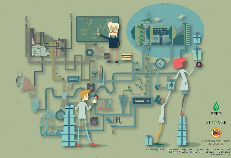 Stylized illustration of scientists at work