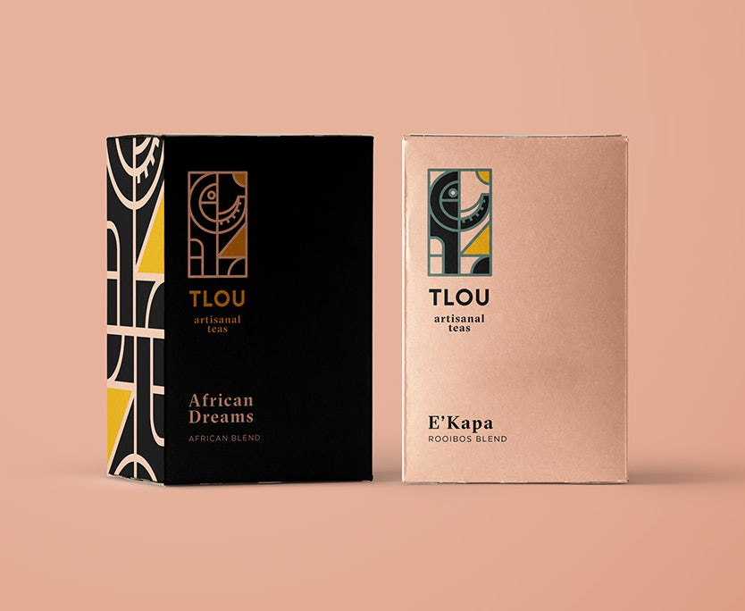 rooibos tea and branding on a pastel pink background