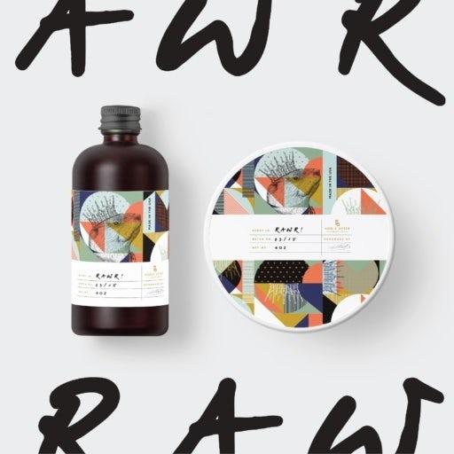 Label design with sketch illustration overlaid on Memphis pattern