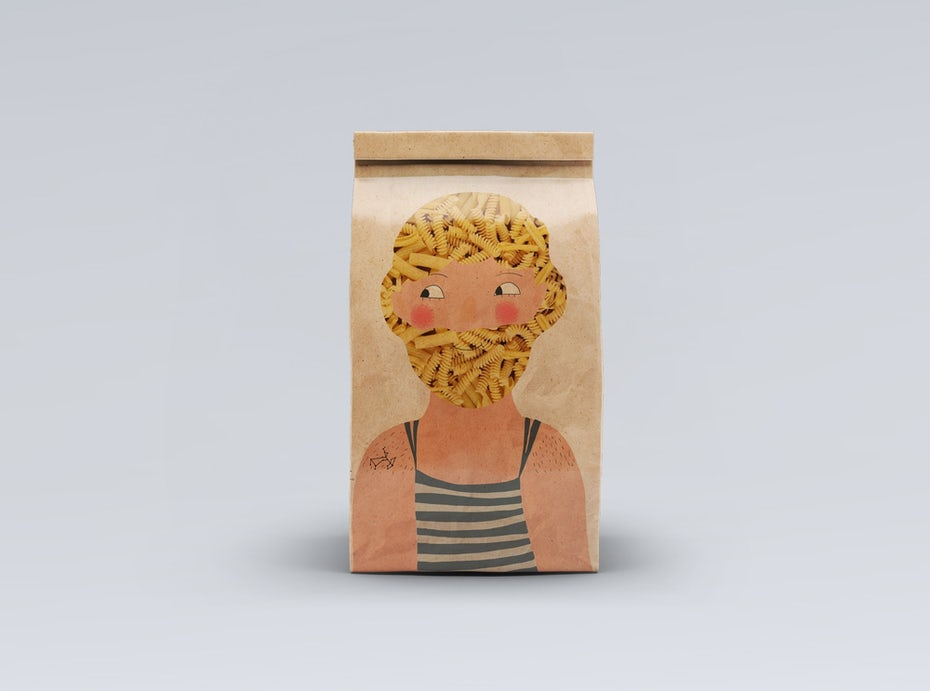 unique pasta packaging in a brown paper bag