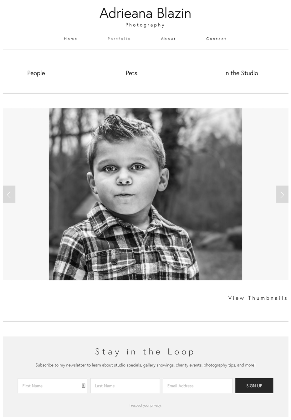 Screenshot of photography website design for Adrieana Blazin