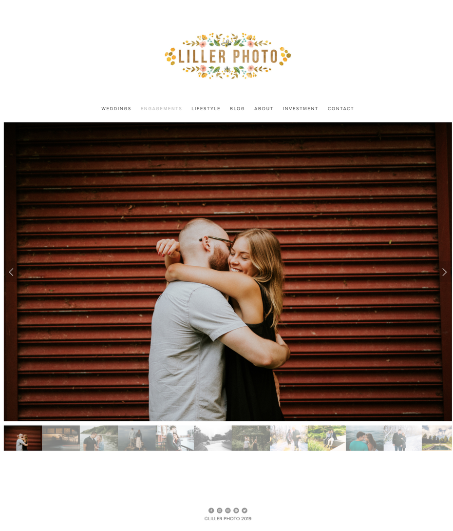 Screenshot of photography website design for Liller Photo