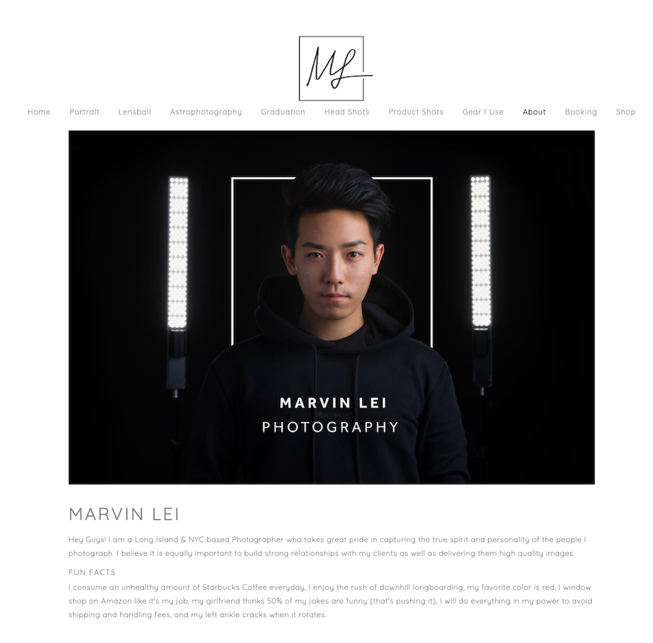 Screenshot of photography website design for Marvin Lei