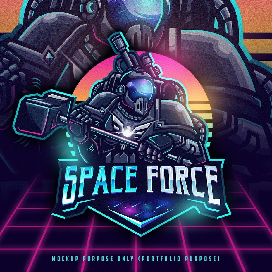 space machine illustration with retro neons and gradients