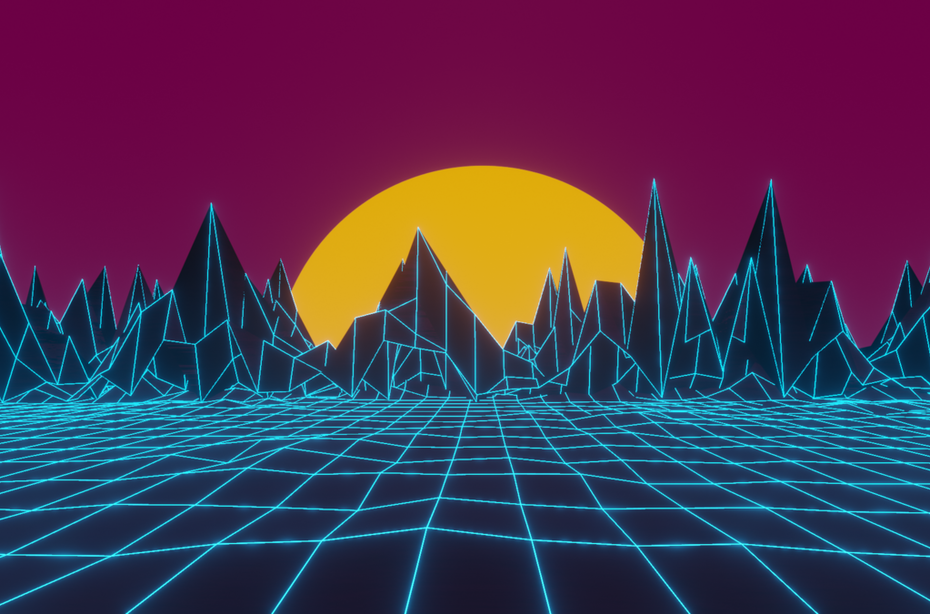 TRON side scene with gridded floor