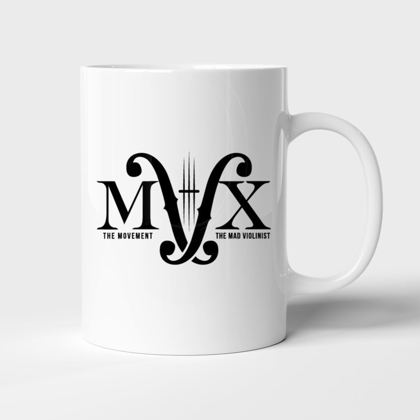 white mug with a black logo comprised of the letters M and V with clefs in between