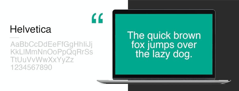 Font sample for Helvetica
