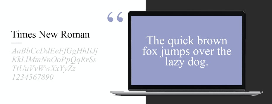 Font sample for Times New Roman