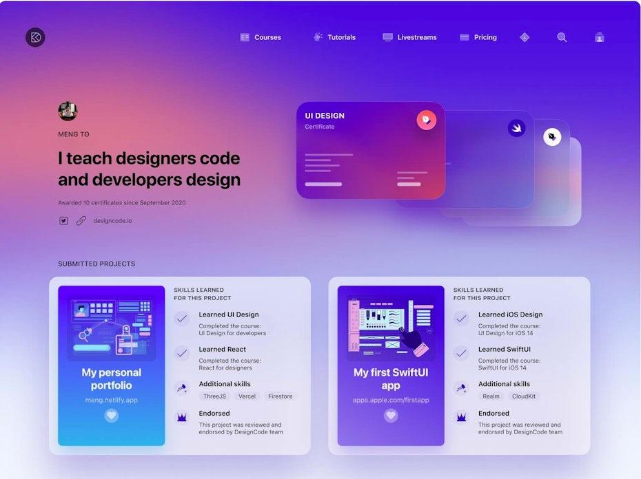 DesignCode profile page
