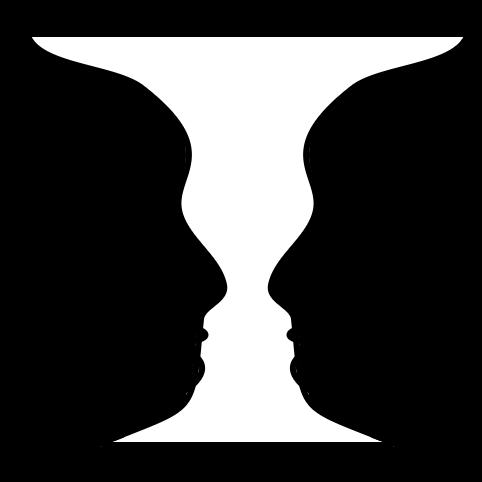 A black and white image of Rubin Vase