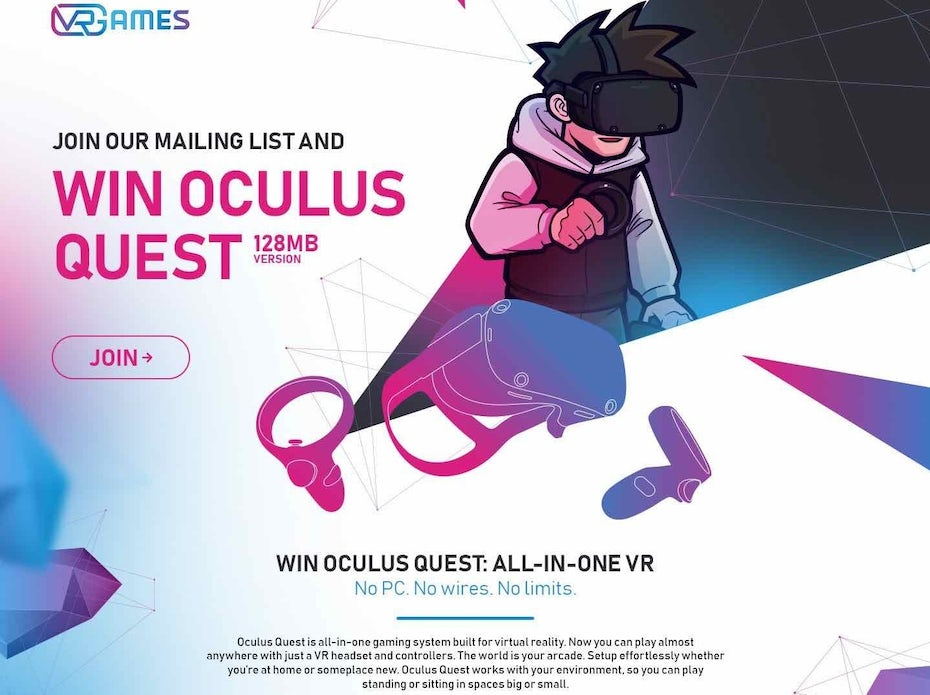 Oculus landing page with gaussian blur