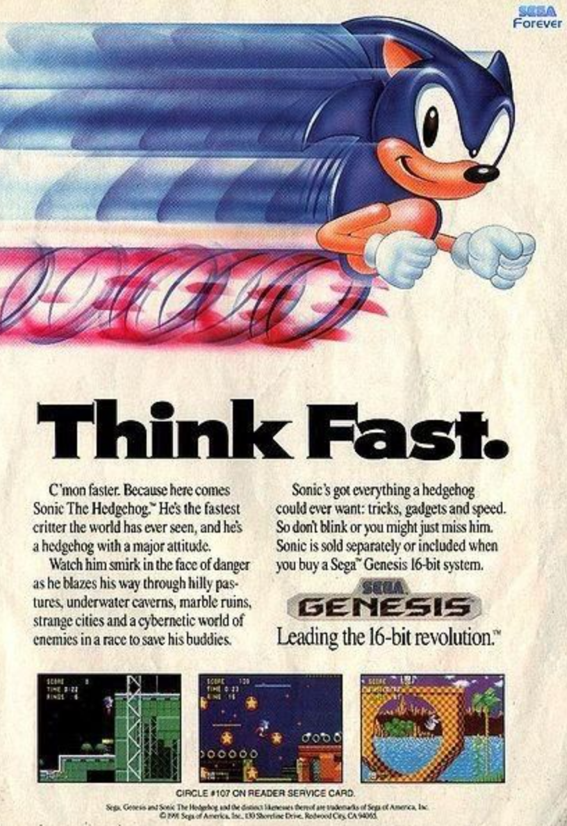 80s SEGA advertising poster and 80s Sonic the Hedgehog poster