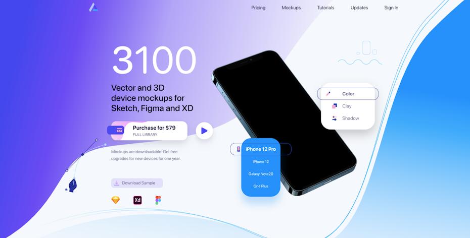Screenshot der Startseite des Angle Design Mockup-Plugins