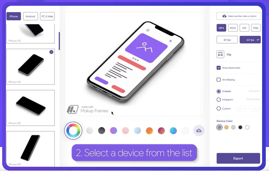 Screenshot der Startseite des Mokup Frames-Design-Mockup-Plugins