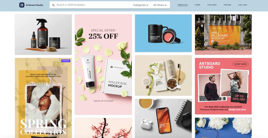 Screenshot der Homepage des Artboard Studio-Design-Mockup-Generators