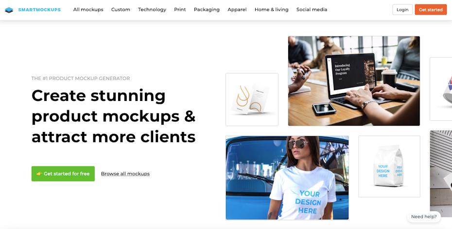 Screenshot der Homepage des Smartmockups-Design-Mockup-Generators