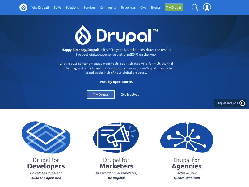 Screenshot of WordPress alternatives: Drupal