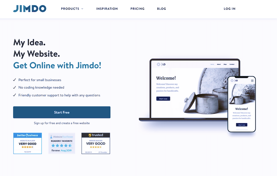 Screenshot of WordPress alternatives: Jimdo