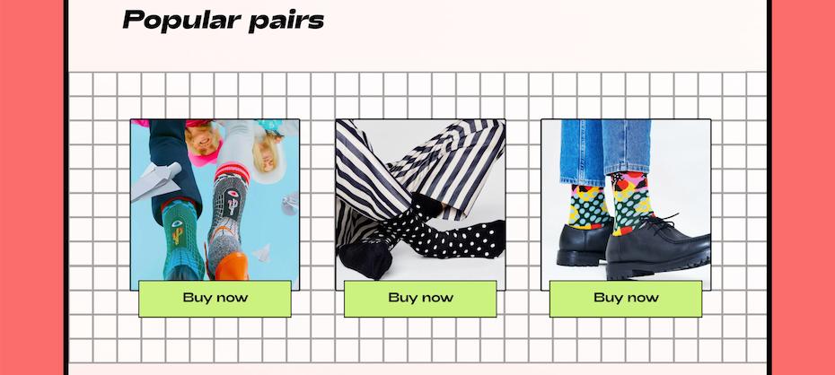 视觉引用视频游戏和网格的Sock Ecommerce网站屏幕截图