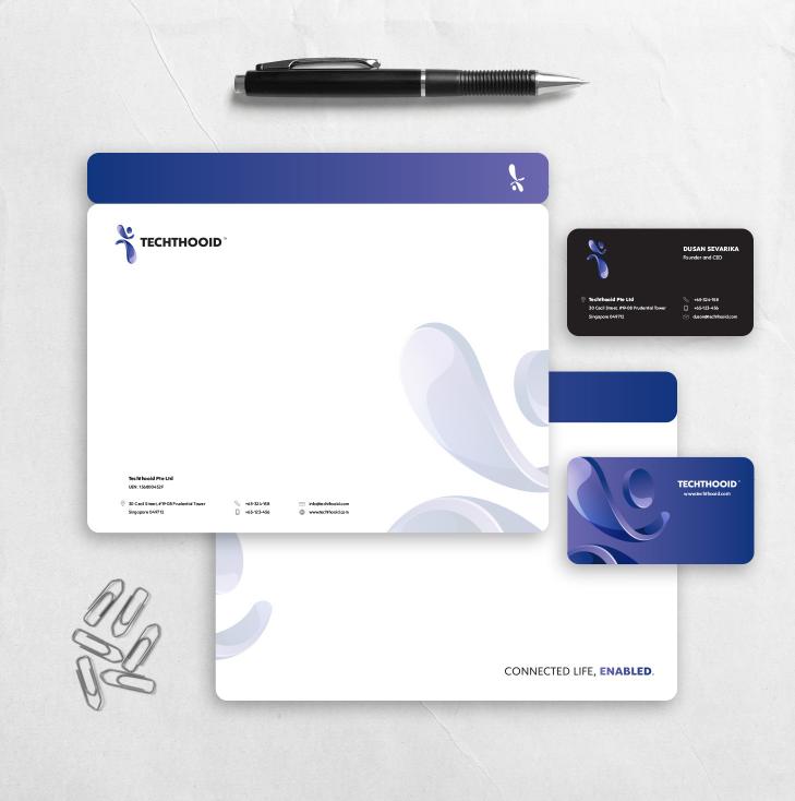 Logodesign und Mockup-Präsentation für eine Technologiemarke
