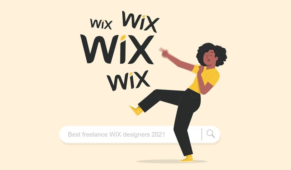 best freelance wix designers illustration featuring dancing person