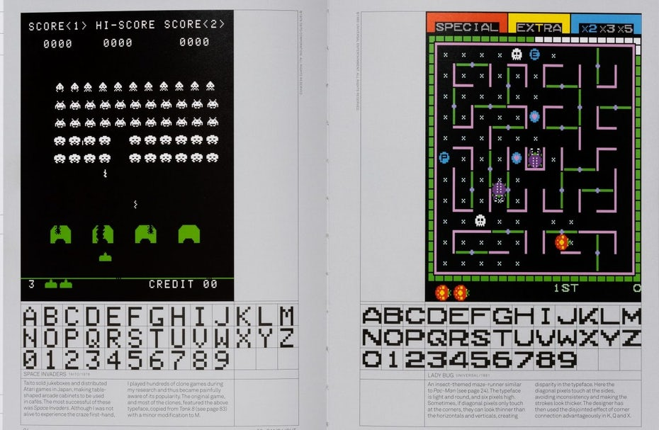 Retro arcade typography, taken from Toshi Omagari's book, Arcade Game Typography