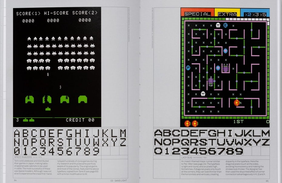Retro arcade typography, taken from Toshi Omagari's book, Arcade Game Typography