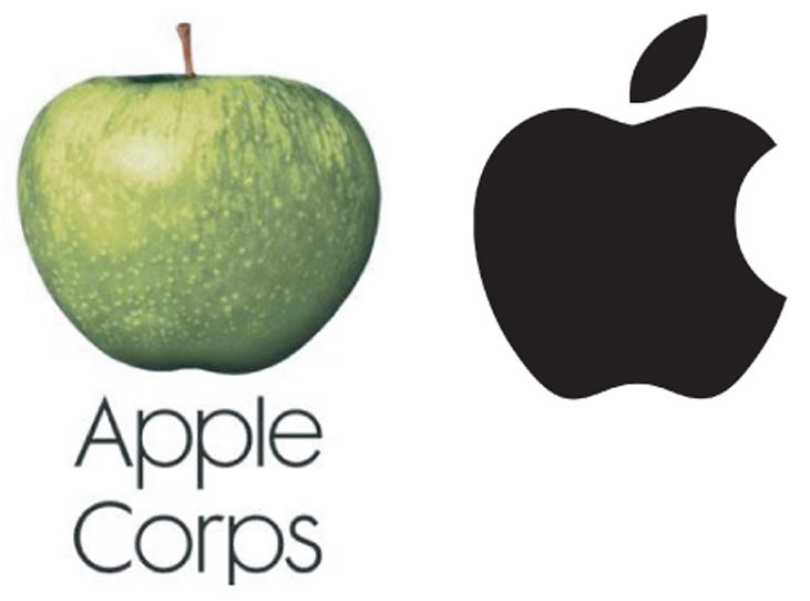 Apple Corps- und Apple Inc-Logos nebeneinander