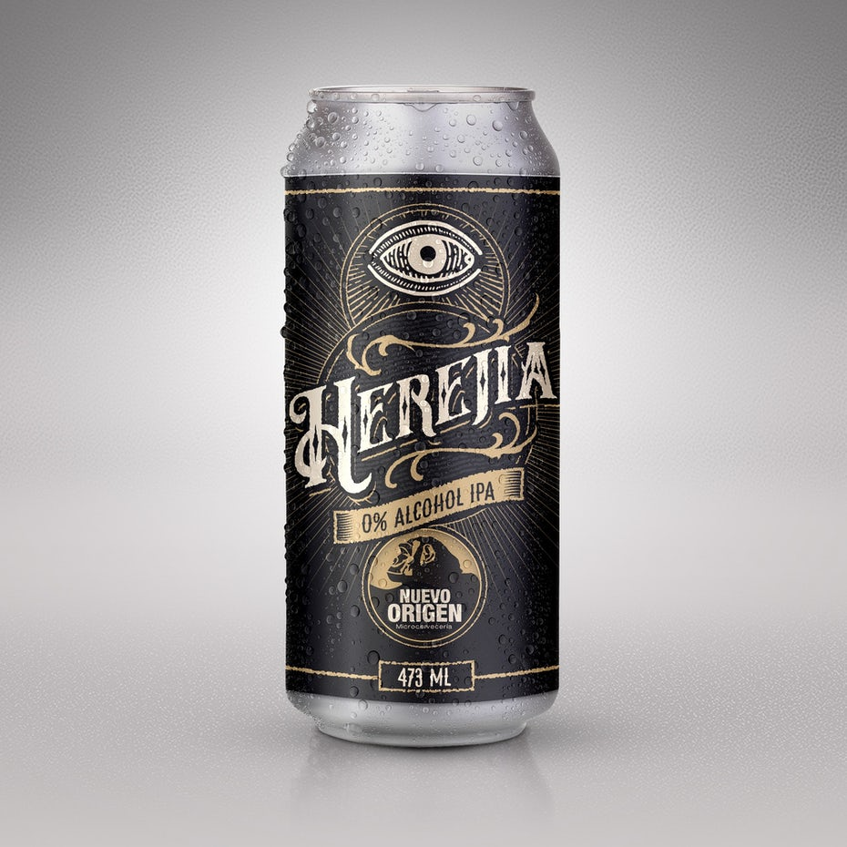black can label with vintage-style logo and text