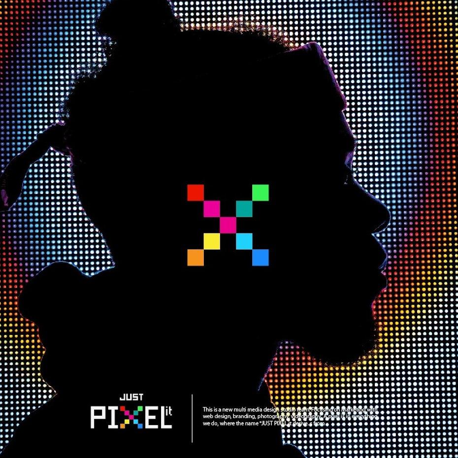 Bright pixel art logo