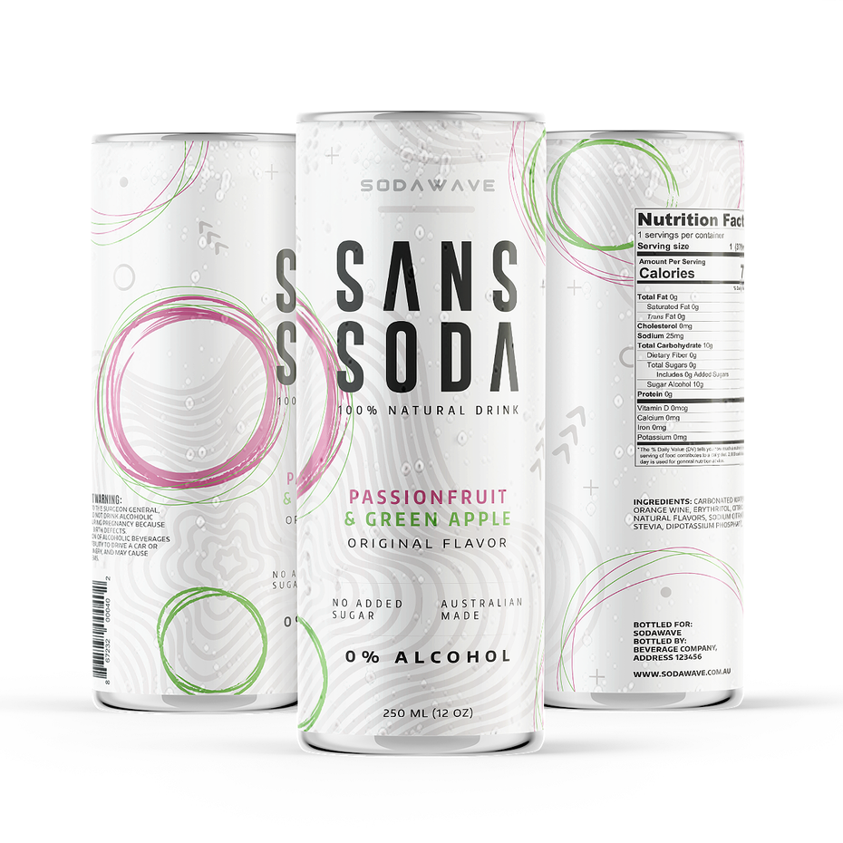 collection of white cans, each with minimalist font and different-colored geometric design