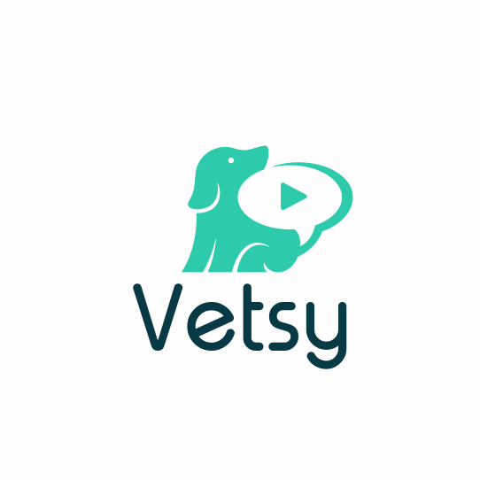 teal and white logo showing a dog with a speech bubble in the negative space behind its tail