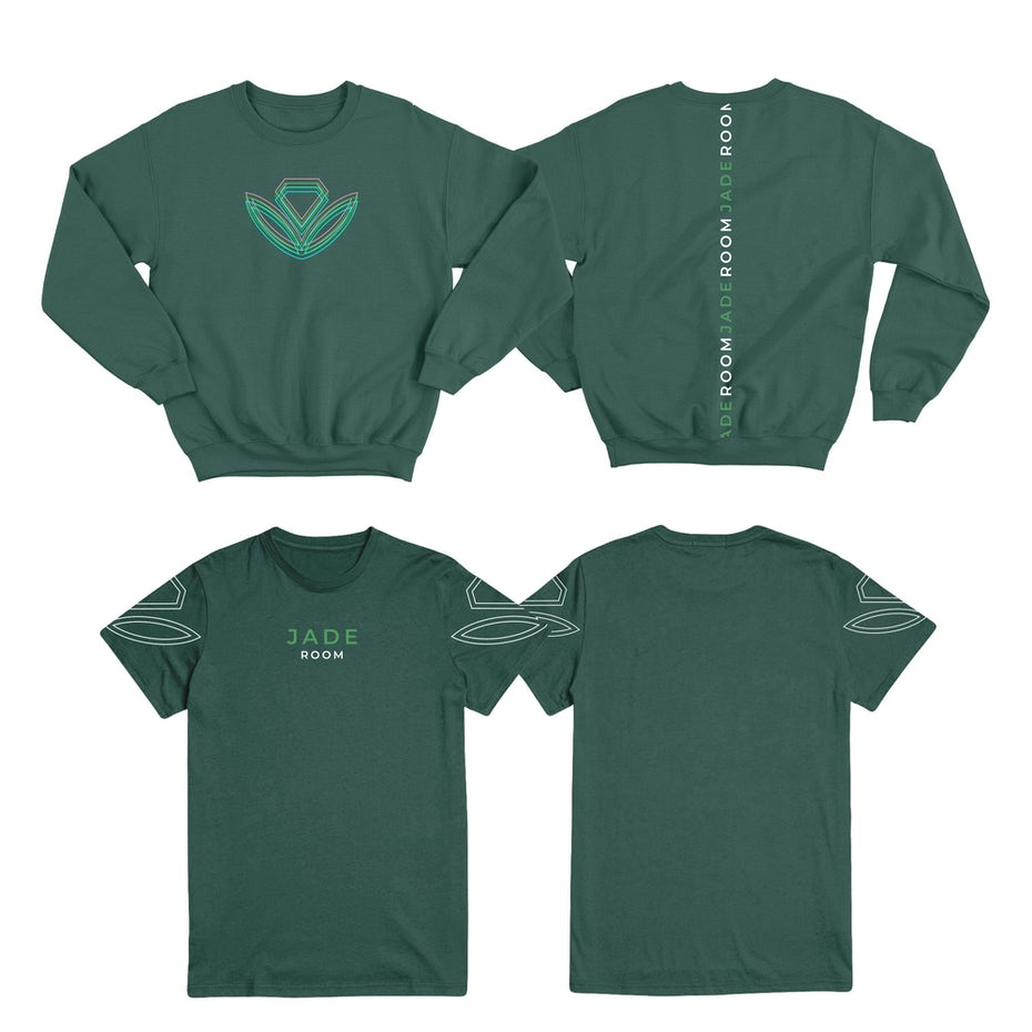 minimalist geometric plant design on a green sweatshirt and tshirt
