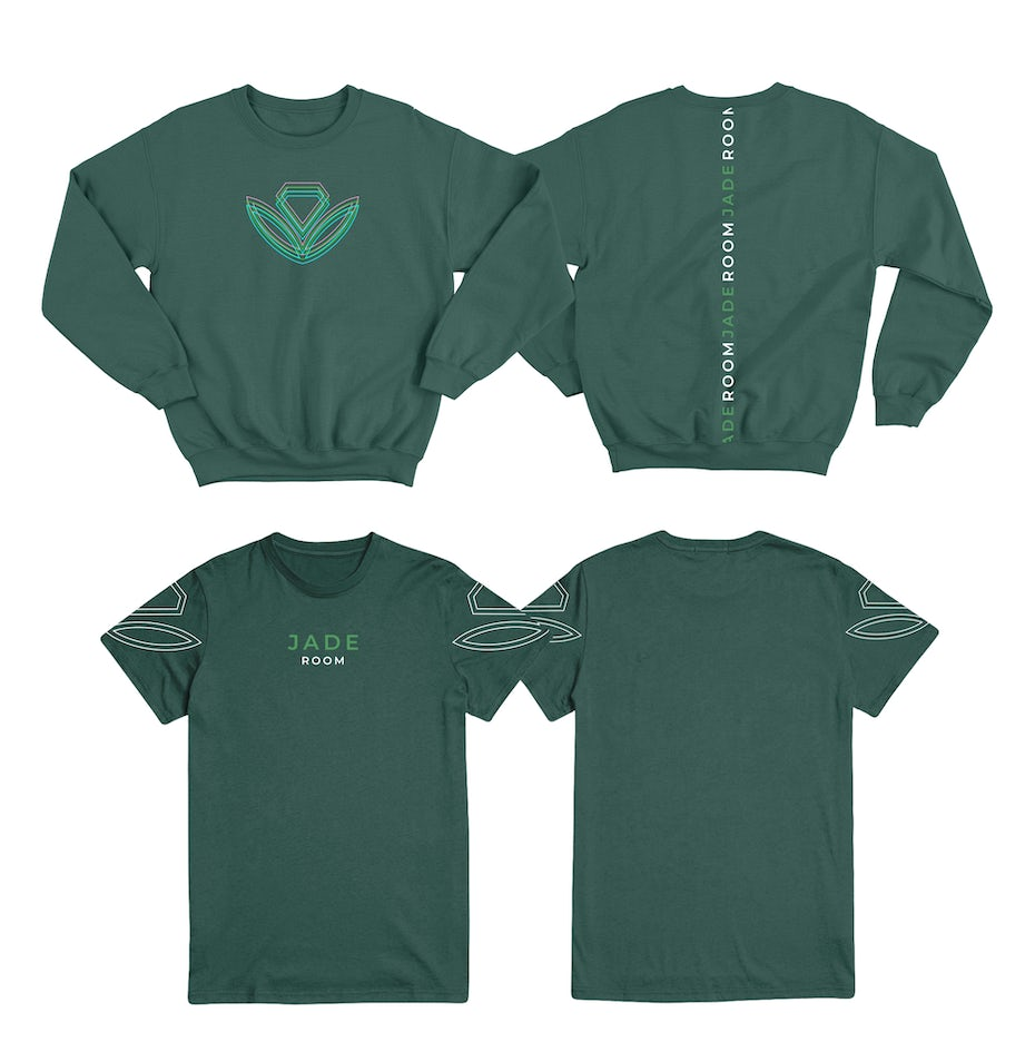 minimalist geometric plant design on a green sweatshirt and tshirt