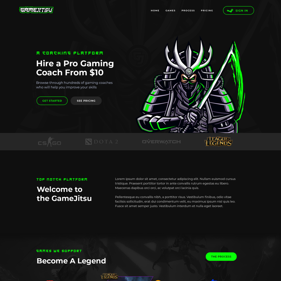 Landing page for gaming platform
