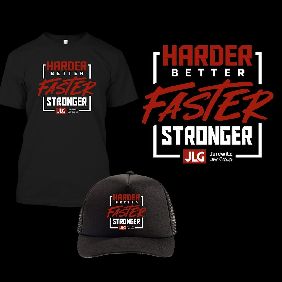 square text slogan in red and white on black tshirt and hat