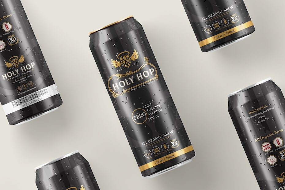 black and gold non-alcoholic beer can design