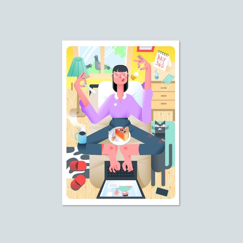 leuchtende Illustration eines freelancers multitasking während der Arbeit