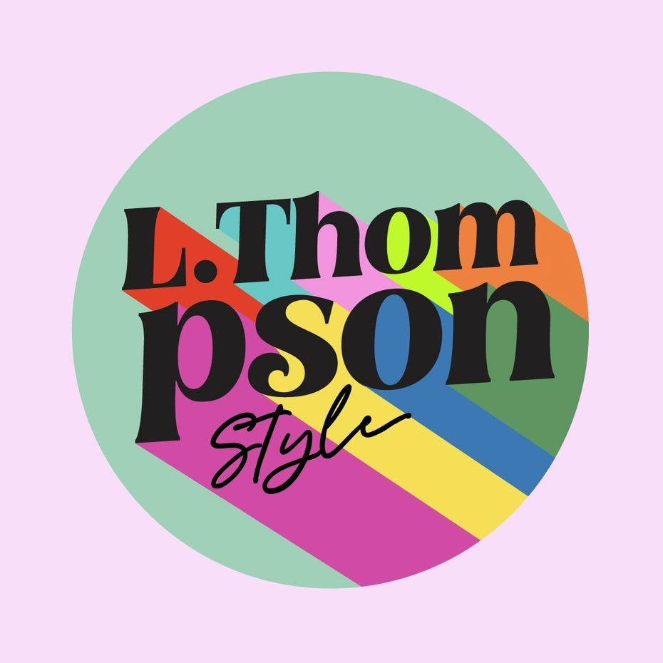 "pastel colored spherical logo for ""L. Thompson Style"""