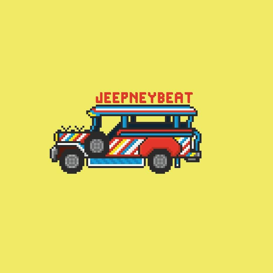 Bright pixel art logo featuring a van