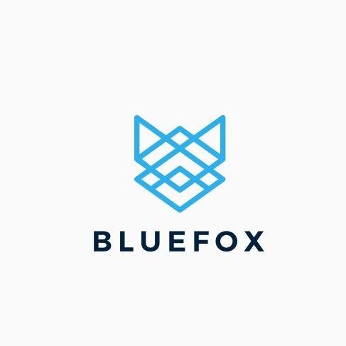 Logo design of a geometric fox head