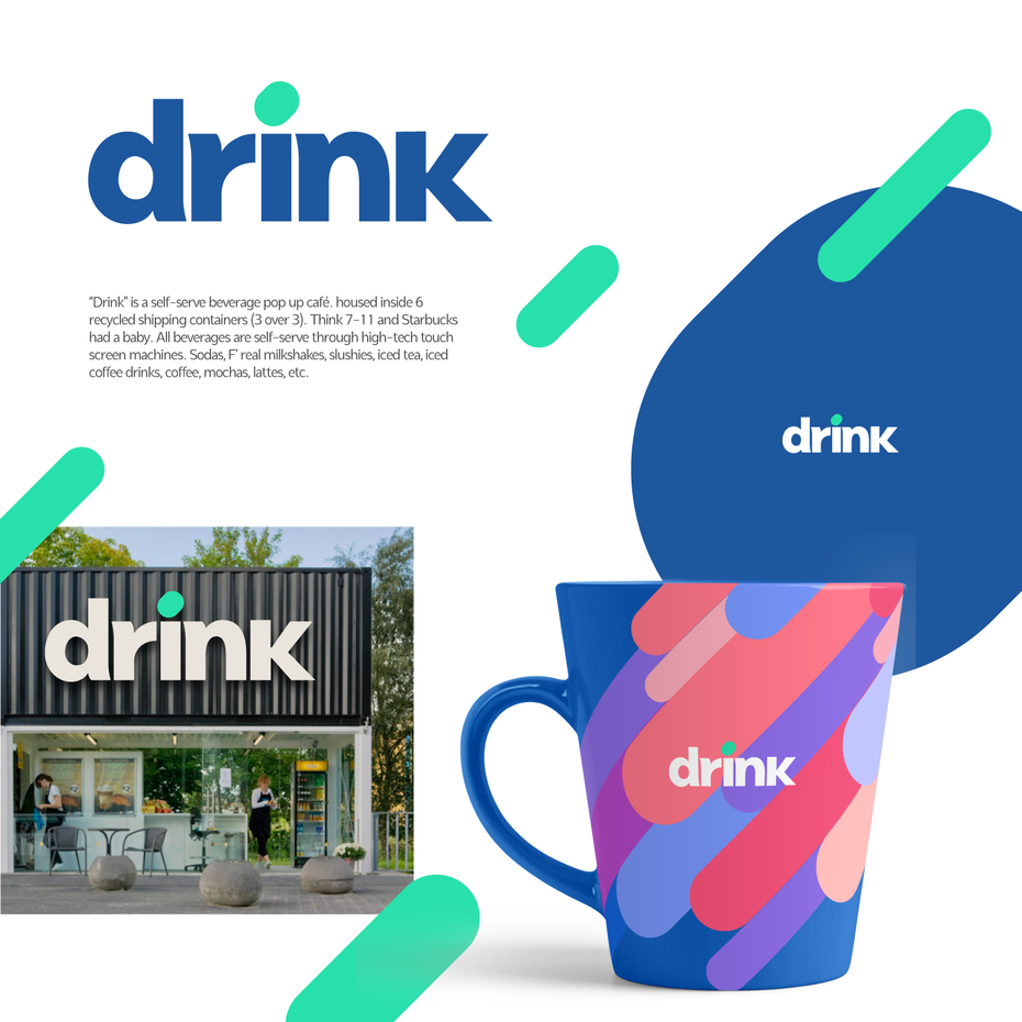 Logo design and mockup for a drink brand
