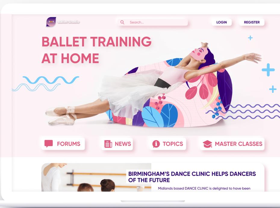 Ballet lovers neumorphism website