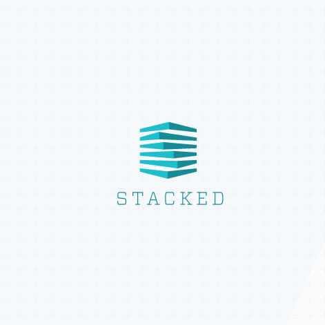 Logo design of abstract, teal shapes