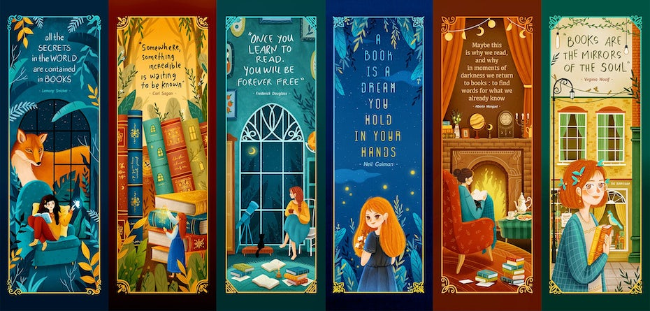 bright bookmarks with magical theme