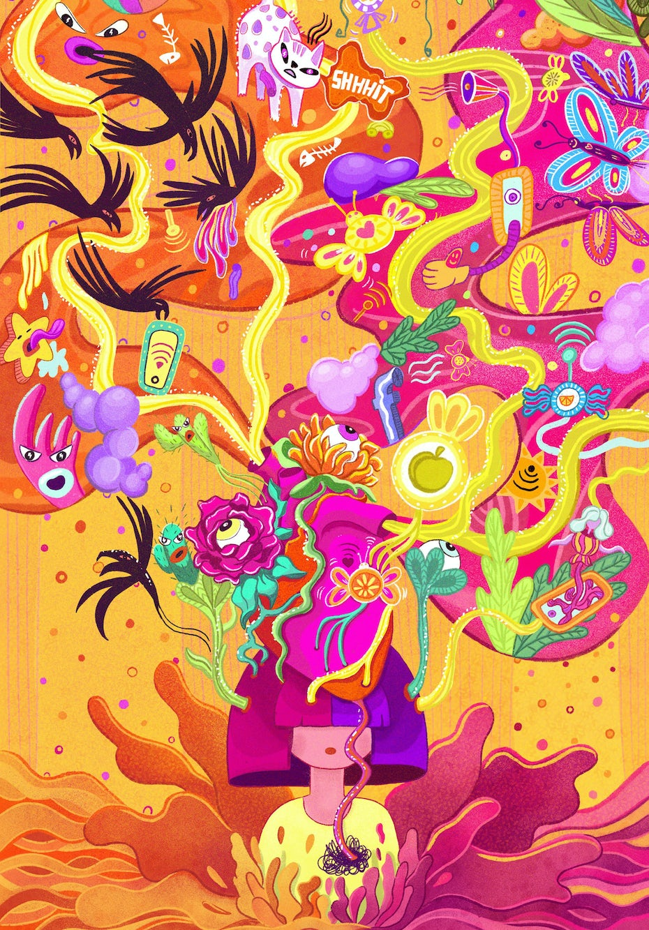 Vivid, surreal and abstract illustration