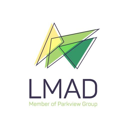 Logo design showing abstract overlapping triangles