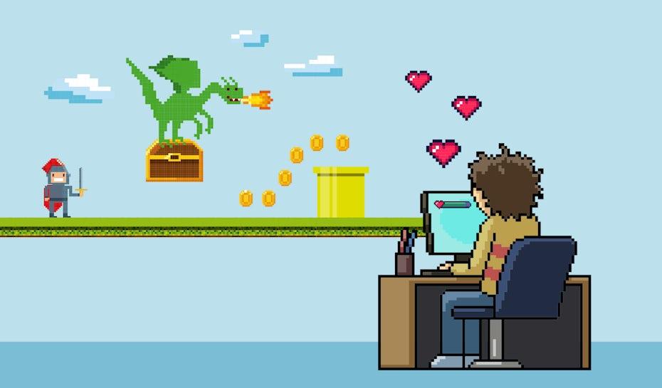 游戏玩家的像素化的例证在行动的